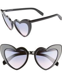 9f8bf3c7eda Saint Laurent - Loulou 54mm Heart Sunglasses - Shiny Black  Violet Gradient  - Lyst