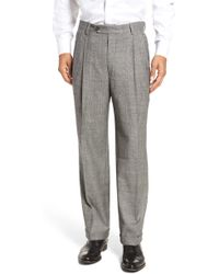 Berle - Pleated Stretch Plaid Wool Trousers - Lyst