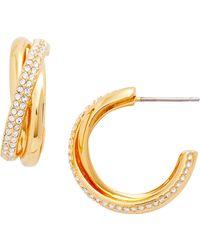 Nadri - Trinity Pave Hoop Earrings - Lyst