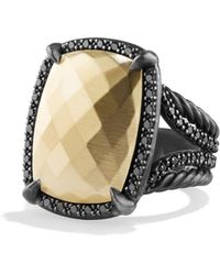 David Yurman - 'chatelaine' Ring With 18k Gold Dome And Black Diamonds - Lyst