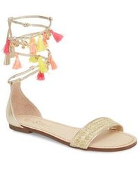 Lilly Pulitzer - Lilly Pulitzer Tassel Ankle Wrap Sandal - Lyst