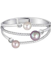 Majorica - Simulated Pearl & Cubic Zirconia Hinge Bracelet - Lyst