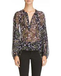 Isabel Marant - Metallic Floral Print Silk Blend Blouse - Lyst