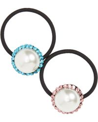 Cara Set Of 2 Imitation Pearl & Crystal Ponytail Holders