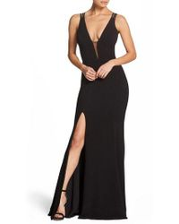 Dress the Population - Lana Plunging Strappy Shoulder Gown - Lyst