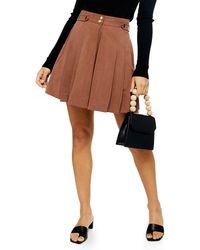 TOPSHOP Idolpleated Shorts - Brown