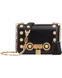 Versace - Icon Studded Leather Crossbody Bag - - Lyst