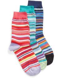 Paul Smith - Gizzy 3-pack Assorted Multi Stripe Crew Socks - Lyst