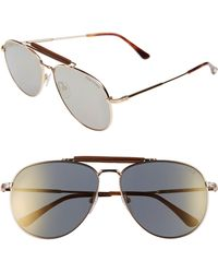 da9ebb3ae1 Tom Ford - Sean 61mm Aviator Sunglasses - Shiny Rose Gold  Smoke Mirror -  Lyst