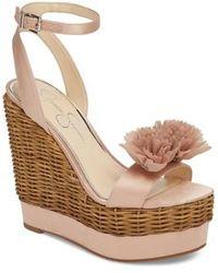 Jessica Simpson Pressa Chiffon Flower Detail Wedge Sandals WvxWVx