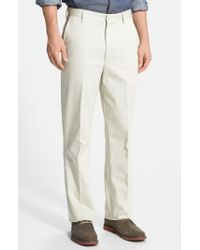 Berle | Flat Front Wrinkle Resistant Cotton Trousers | Lyst