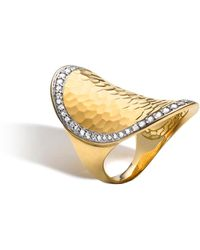 John Hardy - Classic Chain Diamond & Hammered 18k Gold Saddle Ring - Lyst