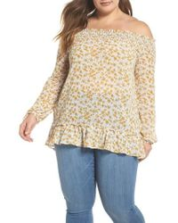 Glamorous - Floral Back Tie Off The Shoulder Blouse - Lyst