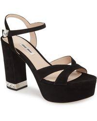 8ea5c03bbd6 Lyst - Miu Miu Embellished Satin And Velvet Platform Sandals in Black