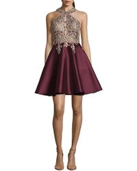 Xscape - Embellished Embroidered Mikado Party Dress - Lyst