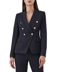 Reiss - Tally Double Breasted Wool Blend Jacket - Lyst