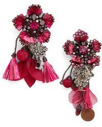 Ranjana Khan - Pink Flower Earrings With Tassels And Vintage Coins - Lyst