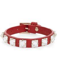 Valentino - Garavani Rockstud Crystal Small Leather Bracelet - Lyst