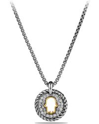 David Yurman - 'cable Collectibles' Hamsa Charm Necklace With Diamonds & 18k Gold - Lyst