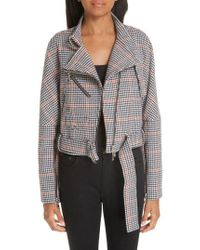 ADEAM - Asymmetrical Tweed Moto Jacket - Lyst
