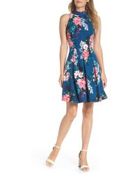 Vince Camuto - Textured Floral Scuba Crepe Fit And Flare Dress - Lyst