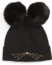 Kate Spade - Embellished Cat Wool Beanie With Faux Fur Poms - - Lyst