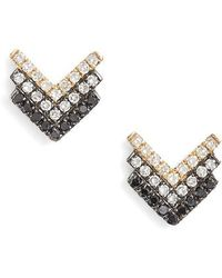 EF Collection - Chevron Diamond Stud Earrings - Lyst