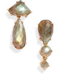 Ela Rae - Mismatched Semiprecious Stone Drop Earrings - Lyst