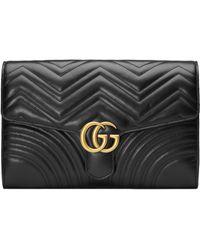 2a1742f12 Gucci GG Marmont Matelassé Leather Clutch in Black - Lyst