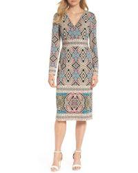 Maggy London - Print Matte Jersey Sheath Dress - Lyst