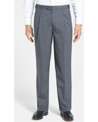 Berle - Self Sizer Waist Pleated Wool Gabardine Trousers - Lyst