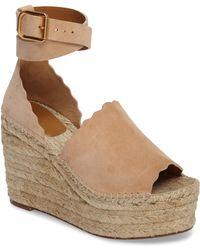 ea49be3edafa Lyst - Chloé Lauren Espadrille Wedge Sandals in Natural
