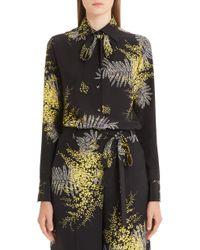 f5bee621d27fa1 Valentino - Mimosa Print Silk Crepe De Chine Blouse - Lyst