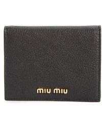 Miu Miu - Madras Leather French Wallet - Lyst