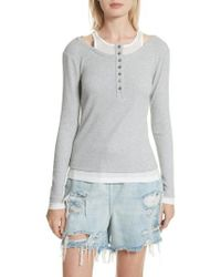 T By Alexander Wang - Layered Mixed Media Henley - Lyst