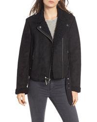Maralyn & Me - Faux Shearling Lined Moto Jacket - Lyst