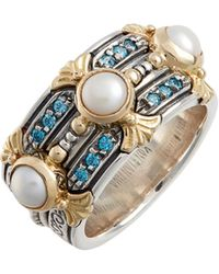 Konstantino - Thalia Pearl & Blue Spinel Band Ring - Lyst