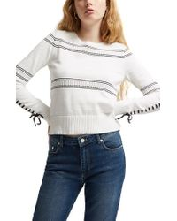 French Connection - Skye Lace-up Sleeve Sweater - Lyst