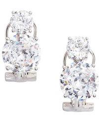 Nadri | Double Cubic Zirconia Clip Stud Earrings | Lyst