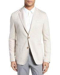 Eleventy - Trim Fit Herringbone Linen & Cotton Jacket - Lyst