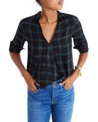 Madewell - Plaid Faux Wrap Shirt - Lyst