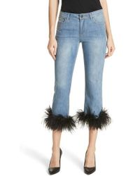 Alice + Olivia - Tasha Feather Hem Crop Jeans - Lyst
