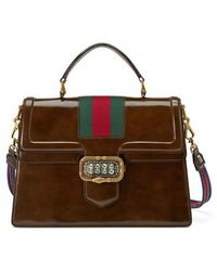 Gucci - Linea Crystal Clasp Leather Satchel - Lyst