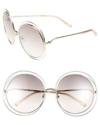 Chloé - 62mm OverGold/ Transparent Peach - Lyst