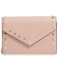 Valentino - Rocktstud V-flap Calfskin Leather Wallet On A Chain - Lyst