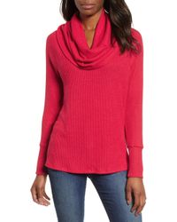 Gibson - X Living In Yellow Ribbed Cowl Neck Sweater - Lyst