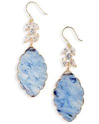 Serefina - Crystal Leaf Drop Earrings - Lyst
