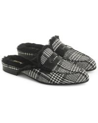 74ef432a768 J.Crew - Academy Loafer Mule With Faux Fur Lining - Lyst
