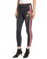 TOPSHOP - Stripe Floral Denim Pants - Lyst