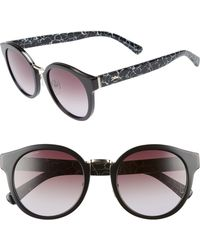 Longchamp - 51mm Round Sunglasses - Marble Black - Lyst